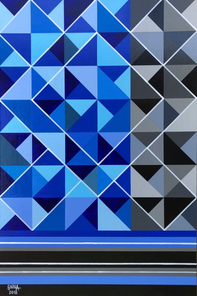 Painting with blue and grey geometric shapes