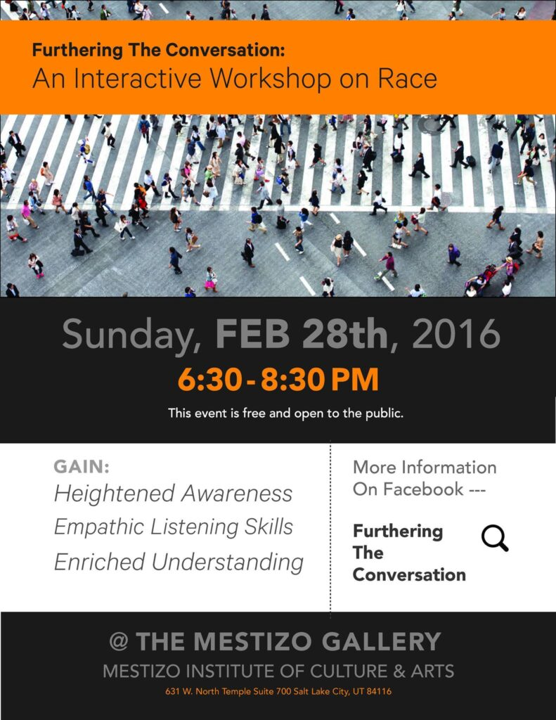"Flyer for ""Furthering the conversation: An interactive workshop on Race"""